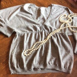 Ann Taylor Loft Grey Merino Cashmere Sweater